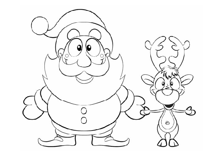 Coloring Pages Of Rudolph And Santa