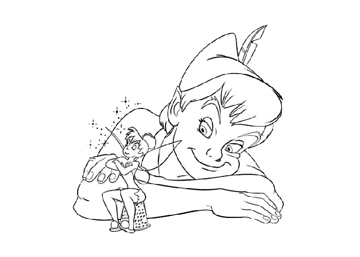 Peter Pan and Tinkerbell coloring pages - Coloring pages